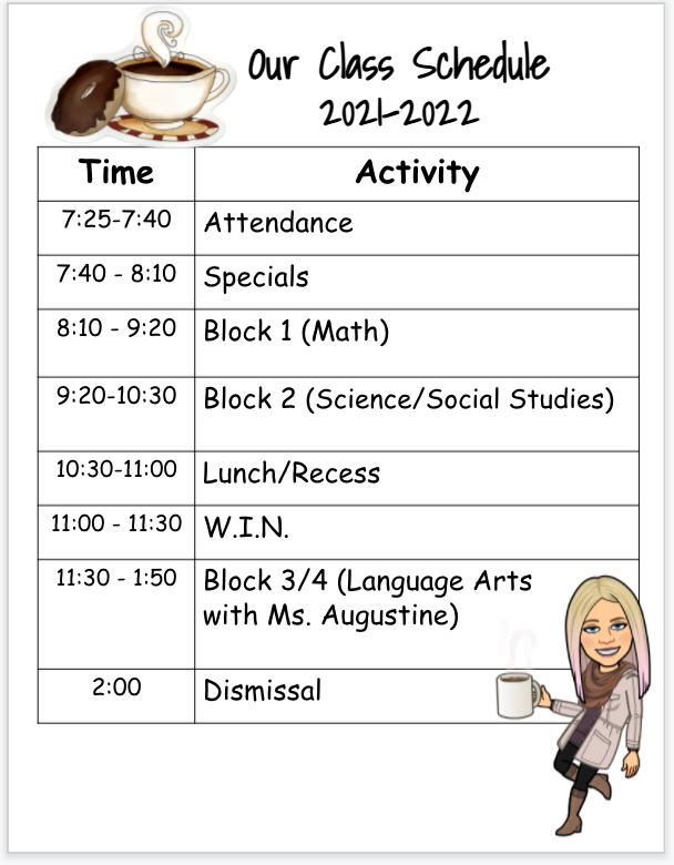 Student Schedule 21-22